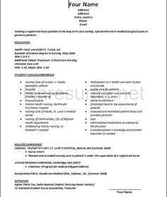 Graduate Nurse Resume Example Rn Pinterest Nursing Resume