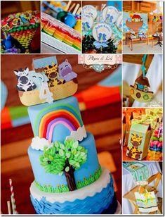 Festa Infantil Tema Arca de Noé. Veja esta e outras ideias no nosso blog.