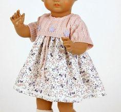 Schildkroet-Puppenkleidung-fuer-41-cm-Puppen-Bluemchenkleid-mit-Strickoberteil