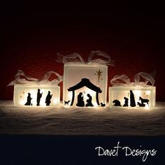 Nativity Scene Vinyl Lettering - fits perfect on 8x8 inch KraftyBlok or glass block and two 4x8 inch blocks. $11.00, via Etsy.