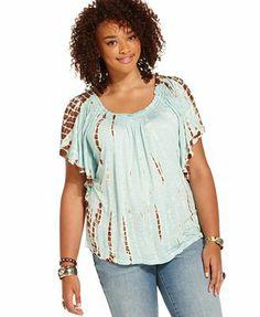 d4c9cb63 American Rag Plus Size Short-Sleeve Tie-Dye Top & Reviews - Tops - Plus  Sizes - Macy's
