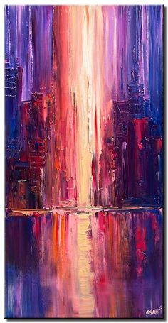 Handmade Oil Painting On Canvas Abstract Painting Easy Abstract Painti – onionral Abstract Painting Easy, Abstract City, City Painting, Acrylic Abstract Painting Techniques, Purple Painting, Modern Oil Painting, Acrylic Art, Abstract Canvas, Abstract Landscape
