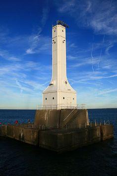 Huron Lighthouse overlooking Lake Erie in Huron, Ohio.