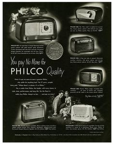 No need to pay more for Philco quality. vintage 1940s radios ad.