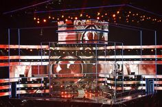 """Fashion Rocks Live."" set, designed by Anne Brahic and constructed by Atomic Design.lighting design was by Bob Dickinson of Full Flood. Pete's Big TVs provided more than 2,000 LED tiles.  http://livedesignonline.com/petes-big-tvs-helps-rock-fashion-worlds-largest-charity-event"