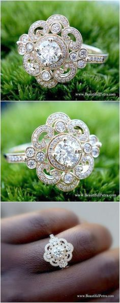 Round Diamond Engagement Ring or RIGHT Hand Ring \/