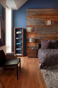 Reclaimed Wood // Wall Feature // Headboard - I like the way they randomly alternate the wide and narrow planks