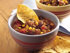 Taco-Corn Chili... i HAVE PREPARED THIS ATLEAST 4 TIMES FOR MY HUBBY AND FAMILY AND THEY LOVED IT EVERY SINGLE TIME; ITS GREAT FOR THOSE COLD FOOTBALL SATURDAYS TOO... SUPER EASY!!