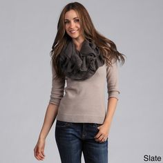 @Overstock.com - Saro Women's Infinity Scarves - This comfortable scarf by Saro features a ruffled look available in several gorgeous bold colors. Full and versatile, this cute scarf is the perfect accessory for any outfit.  http://www.overstock.com/Clothing-Shoes/Saro-Womens-Infinity-Scarves/7957421/product.html?CID=214117 $23.99