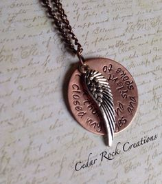 Guardian Angel necklace. A silver toned angel wing and a 1 inch copper disc with the words I closed my eyes and spoke to you a thousand silent