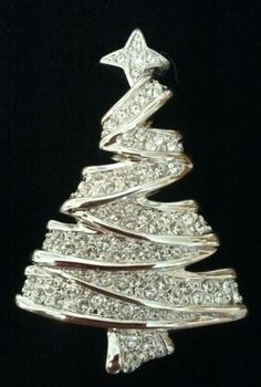 Vintage Signed Swan Logo Swarovski Christmas Tree Brooch Pin Minty