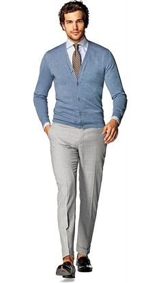 Knits: Sweaters, Cardigans, Crewnecks and Cardigan Bleu, Blue Sweater Outfit, Mens Prom Tuxedos, Big Man Suits, Mens Outdoor Fashion, Gq Fashion, Camisa Polo, Business Casual Outfits, Sporty Look