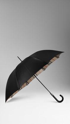 Ombrello da passeggio con interno check | Burberry