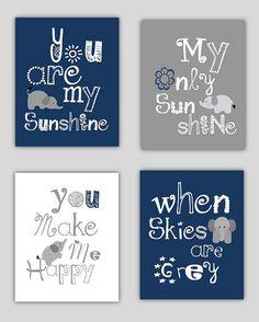 Elephant Art, You are my sunshine Navy Blue and Gray Art Prints, 4-8x10 prints, Matches Boy or Girl Nursery, nursery, or playroom