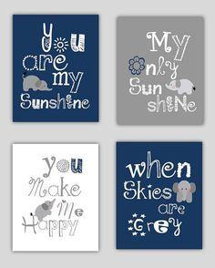Elephant Art, You are my sunshine Navy Blue and Gray Art Prints, 4-8x10 prints, Matches Boy or Girl Nursery, nursery, or playroom