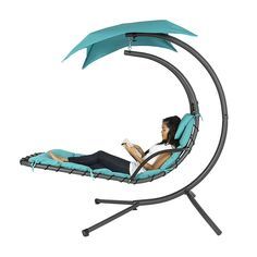 "Best Choice Products Hanging Chaise Lounger Chair Arc Stand Air Porch Swing Hammock Chair Canopy Teal  Modern design heavy duty powder coated metal frame , support up to 265lbs Include 2"" foam filled PVC coated polyester cushion with built-in p..."