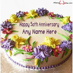 Happy Wedding Anniversary Wish Cake with Name - eNameWishes Best Picture For DIY Anniversary couple For Your Taste You are looking for somethi 50th Wedding Anniversary Wishes, Happy Anniversary Cakes, Anniversary Crafts, Anniversary Surprise, Anniversary Parties, Birthday Cake Delivery, Special Birthday Cakes, Happy Birthday, Cake Birthday