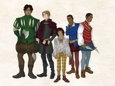 The Gentleman Bastards!  From left to right:  Jean Tannen, Locke Lamora, Bug, Calo and Galdo Sanza as interpreted from the Lies of Locke Lamora by Scott Lynch