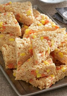 Candy Corn-Marshmallow RICE KRISPIES TREATS – RICE KRISPIES TREATS get a Halloween makeover with the addition of candy corn. If you're looking for surefire dessert recipe, this is it!