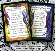 MOTHER and DAUGHTER Original #Poem by Raphaella Vaisseau #Heartfulart #mother #daughter #raphaella_vaisseau #heartful_art #etsy #family #relationship #parent #child #birthday #mother_and_daughter #magnet #poster #mothersday #mothers_day #quote