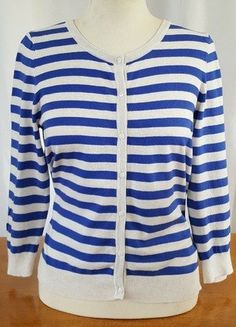 Buy here at #vinteduk http://www.vinted.co.uk/womens-clothing/hoodies-and-jumpers-cardigans/6622639-size-m-hm-basic-blue-and-cream-stripey-button-up-cardigan