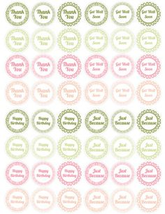 Colored circle sentiments - Thank You, Happy Birthday, Get Well Soon, Just Because. They fit mason jar lids