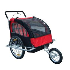 Aosom Elite 2in1 Double Child Bike Trailer / Jogger - Red