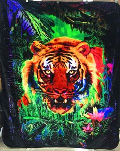 🌴🐯 JUNGLE TIGER 🐅 QUEEN SIZE BLANKET BEDSPREAD🔥🔥🔥 #NUTRENDZ #BlackLightReactive