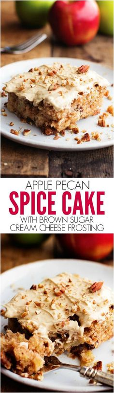 This Apple Pecan Spice cake is perfectly moist and SO amazing! The brown sugar cream cheese frosting on top is the best part!!