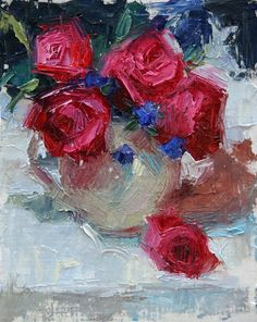 Rose Still Life painting original oil knife by duchesstrading