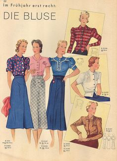 1938 German Fashion Pattern and Illustration for Blouse