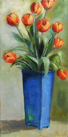 "Daily Paintworks - ""Tulips in Blue"" - Original Fine Art for Sale - © Martha Lever Acrylic Flowers, Acrylic Art, Watercolor Flowers, Watercolor Art, Tulip Painting, Pastel Artwork, Color Pencil Art, Art Pages, Flower Art"