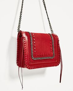 Image 3 of RED LEATHER CROSSBODY BAG from Zara