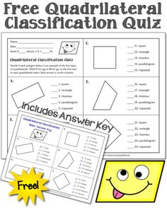 Free Quadrilateral Classification Quiz from Laura Candler Teaching Geometry, Teaching Math, Teaching Ideas, Math Resources, Math Activities, Math Games, Geometry Activities, Fifth Grade Math, Grade 3