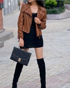 Black dress brown leather jacket – Modern fashion jacket photo blog
