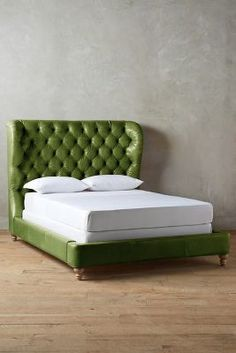 #Anthropologie Leather Tufted Wingback #Bed #anthrofave