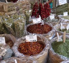 Syracuse - herbs and spices - Food Market in Sicily, Italy