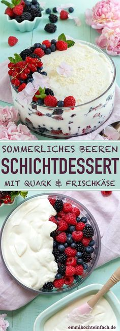 Beeren Schichtdessert mit Quark und Frischkäse - emmikochteinfach Berry layered dessert with curd cheese and cream cheese The simple recipe. The quick dessert and dessert with fresh berries or a Cream Cheese Desserts, No Cook Desserts, Cheese Recipes, Easy Desserts, Cake Recipes, Dessert Recipes, Dessert Simple, Bon Dessert, Queijo Cottage