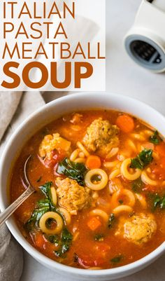 Want a quick and easy homemade soup recipe? This Italian meatball soup is the best! Made with Italian sausage, san marzano tomatoes, chicken broth, a tingly spice blend, kale, veggies and pasta -- it's a simple soup that feeds the whole family. A great weeknight dinner idea. Use your favorite small pasta like orzo, alphabets, pastina, mini farfalle or stars. Kids love this. #meatballsoup #italiansoup Bhg Recipes, Easy Pasta Recipes, Pork Recipes, Veggie Recipes, Real Food Recipes, Chili Recipes, Easy Italian Meatballs, Italian Meatball Soup, Pastina Recipes