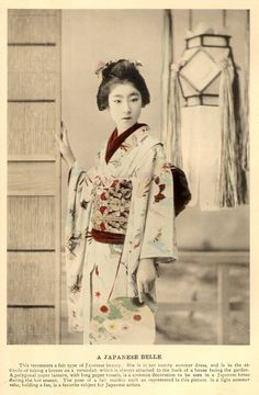 """Ponta in a Summer Kimono (1896)    """"Ponta was a famous Hangyoku (Young Geisha) of the Shinbashi hanamachi (geisha district) in Tokyo."""