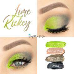Lime Rickey Eye Look uses four SeneGence ShadowSense : Neon Green Shimmer, Moca Java, Smoked Topaz Shimmer