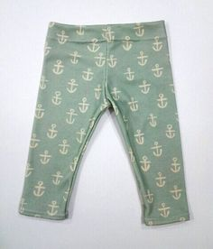 Sweet Kiddo mint anchors organic cotton leggings door SweetKiddoCo, $32.00