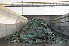 Trash Is Ugly, But Recycling Is Downright Beautiful | Recovered circuit boards are shredded, then melted in an oven. Through special pyro-and hydro-metallurgical processes, precious metals like gold, silver, platinum, palladium, and rhodium, as well as lead, copper, antimony, tin, bismuth, nickel, indium, selenium, and tellurium, are recovered.  | Credit: Paul Bulteel | From Wired.com