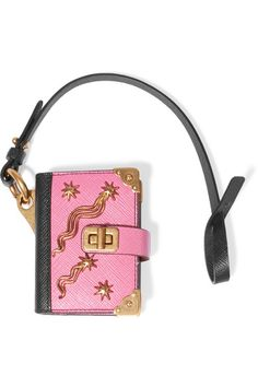 Pink and black textured-leather (Calf) Clasp fastening  Made in Italy