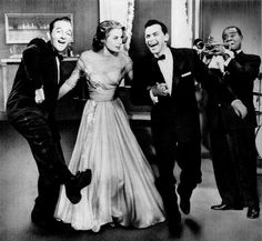 Bing Crosby, Grace Kelly, Frank Sinatra, and Louis Armstrong. From a magazine ad for 'High Society', 1956.