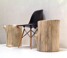 Tree Stump Table Stool Seat Trunk Reclaimed Eco by realwoodworks1, $320.00