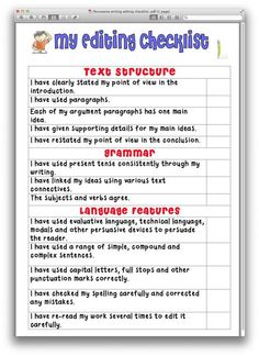 Persuasive writing editing checklist product from Just-Teach on TeachersNotebook.com