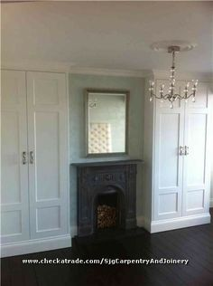 replace fireplace in upstairs front room& mdf fitted wardrobes either side Alcove Wardrobe, Bedroom Alcove, Bedroom Built In Wardrobe, Home Bedroom, Bedroom Decor, Master Bedroom, Bedroom Ideas, Wardrobe Design, Bedroom Inspo