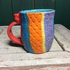 Ceramic Mug Pottery Leaf Carved Mug Carved Mug Painted Cup by NorthernWoodsStudio on Etsy