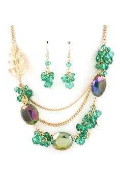Collar cristales tonos verdes
